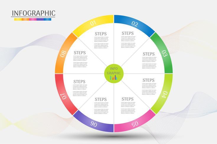 Projete o elemento infographic da carta das etapas do molde 8 do negócio com data do lugar para apresentações, vetor EPS10.