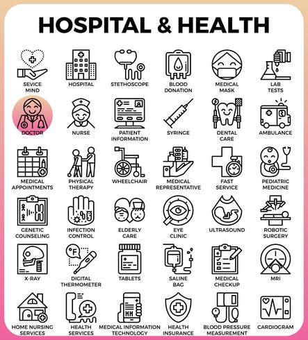 Iconos de concepto de hospital y salud