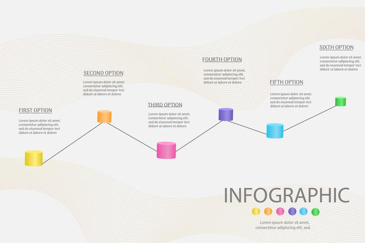 Ontwerpsjabloon Business 6 stappen infographic grafiekelement met plaatsdatum voor presentaties, Vectoreps10.
