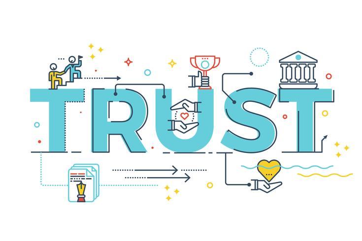 Trust word lettering