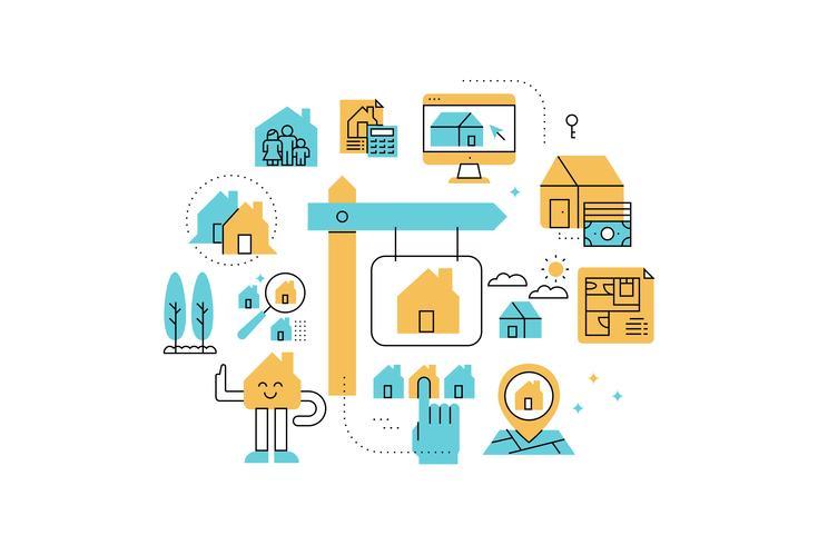 Real Estate line icons illustration