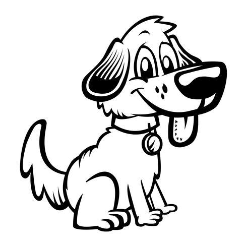 Leuke vriendelijke cartoon hond vector