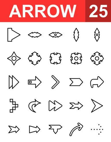 25 Pijllijnpictogram