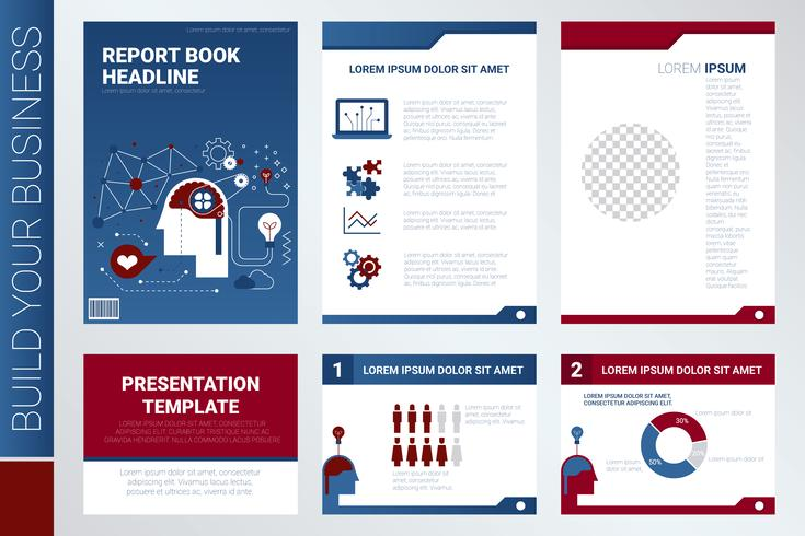 Capa de livro de relatório anual e modelo de apresentação vetor
