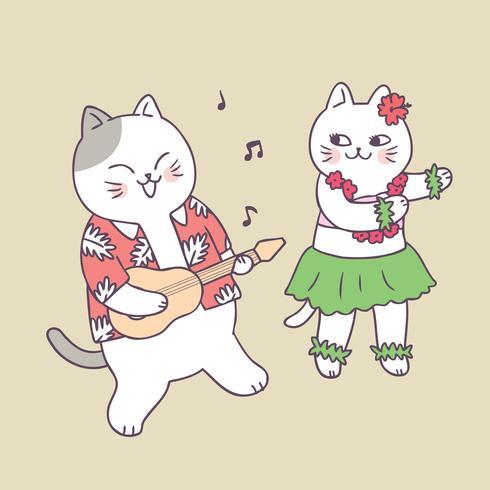 Chat d'été mignon de bande dessinée jouant de la guitare et danser le vecteur.
