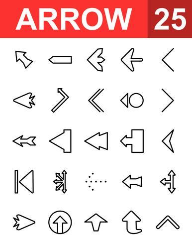 25 Icono de la línea de flecha