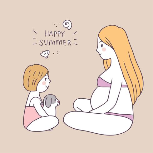 Cartoon cute summer mom and daughter and dog vector.