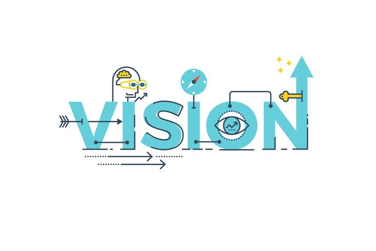 Vision word lettering vector