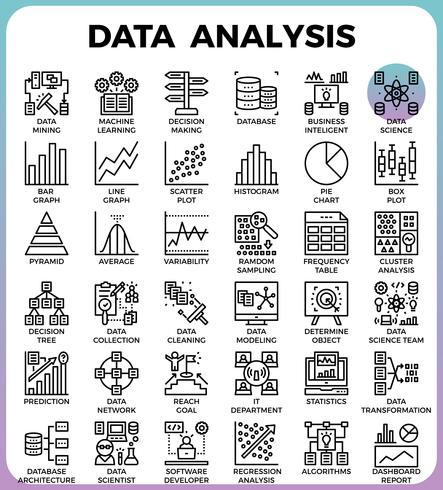 Conceito de análise de dados detalhada ícones de linha