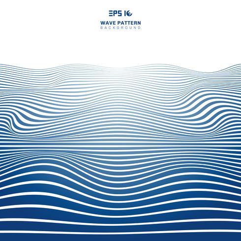 Abstrakte blaue gewellte Streifenlinien Wellenmuster auf weißem Backhround und Beschaffenheit.