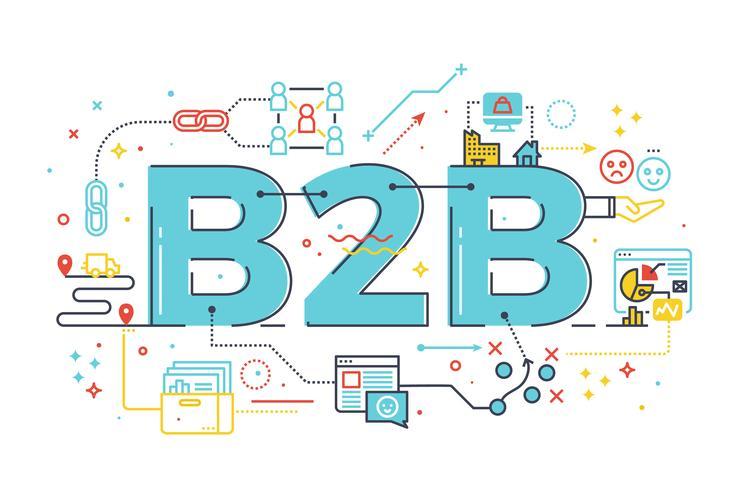B2B: Negocio a negocio, ilustración de palabra