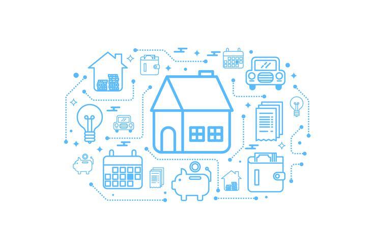 Onroerend goed huis overzicht pictogram concept