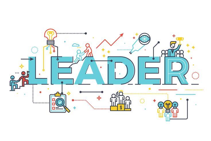 Palavra líder no conceito de liderança empresarial vetor