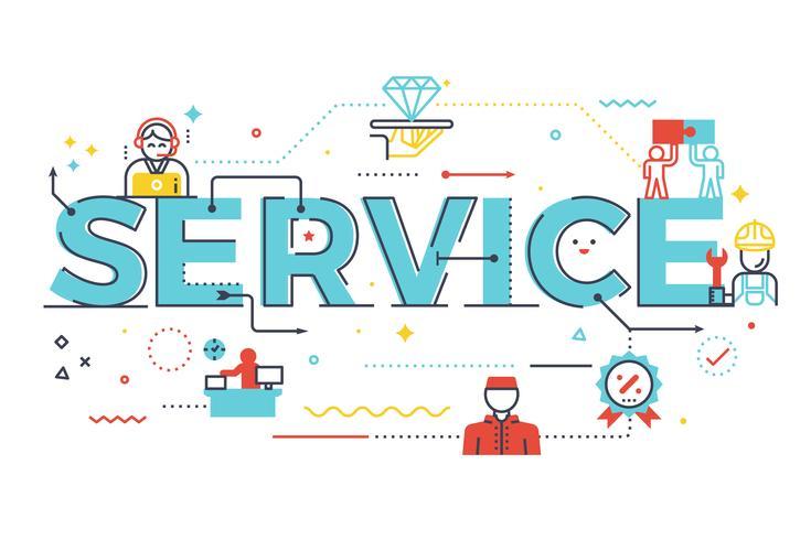 Illustration de l'inscription du mot service