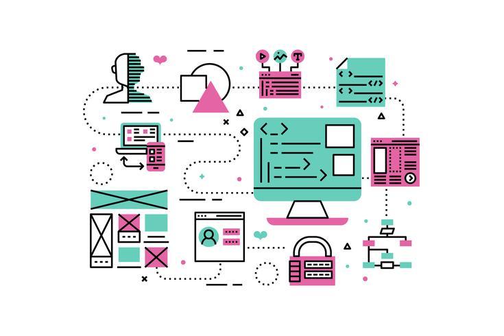 Ilustración de programación web vector