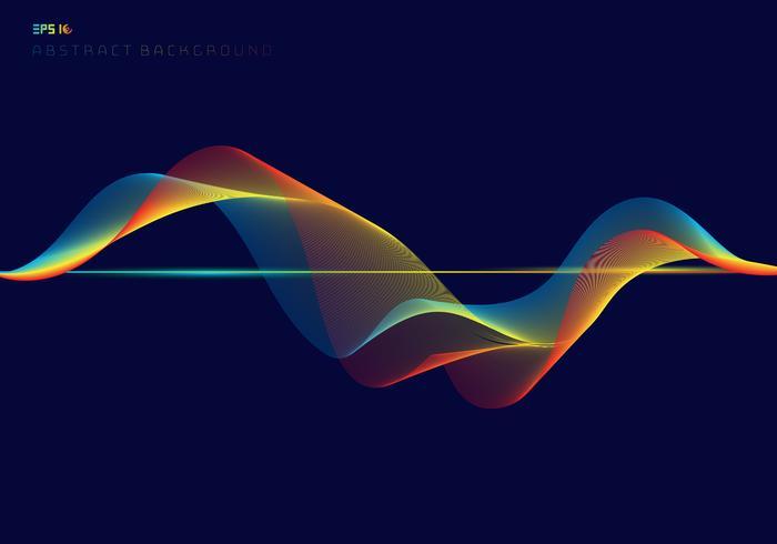 Linhas de onda abstrata equalizador digital colorido no conceito de tecnologia de fundo azul escuro vetor