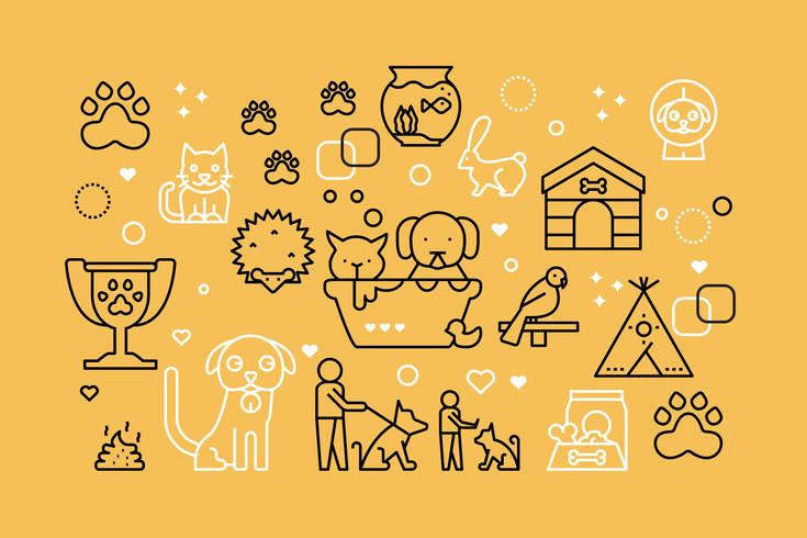 Haustiere Linie Icons Illustration