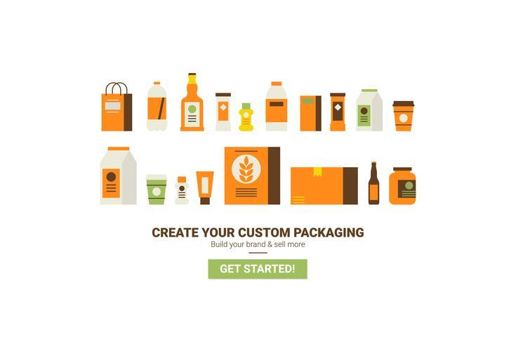 Concepto de embalaje personalizado vector