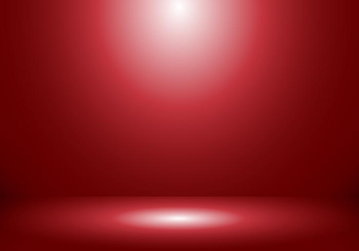 3D empty studio room show booth for designers with spotlight on red gradient background. vector