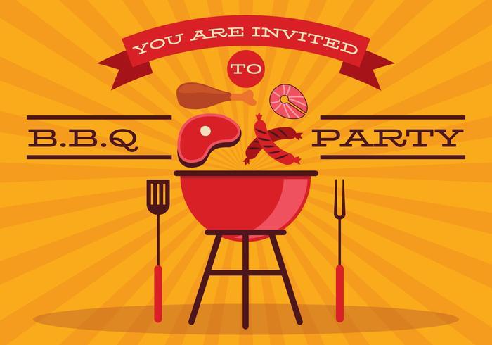 Retro BBQ-Plakat-Vektor