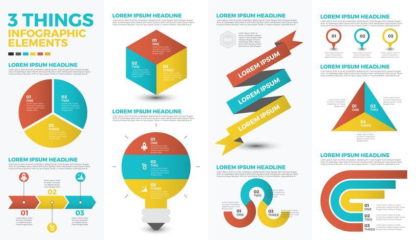Drei infographic Elemente der Sachen