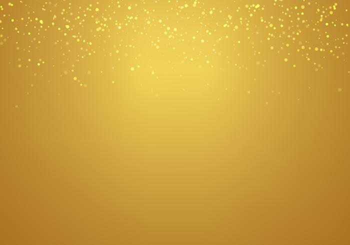 Résumé des lumières de paillettes dorées tombant texture sur un fond dégradé doré avec un éclairage.