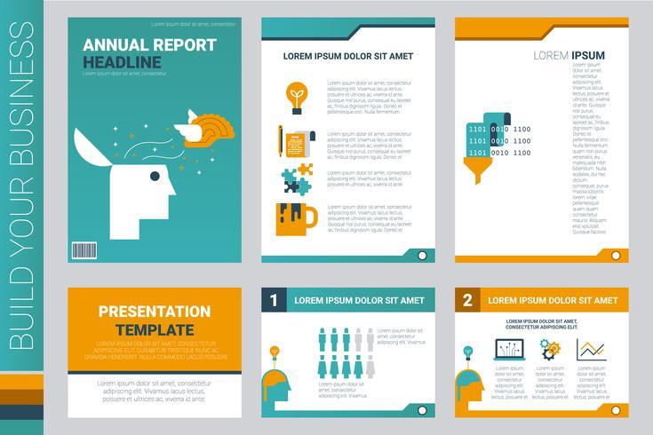 Informe anual cubierta de libro y plantilla de presentación