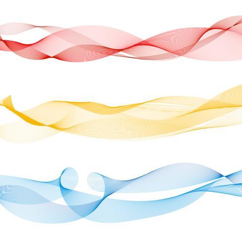 Ensemble de lignes abstraites vague lisse colorée rouges, jaunes, bleus sur fond blanc.