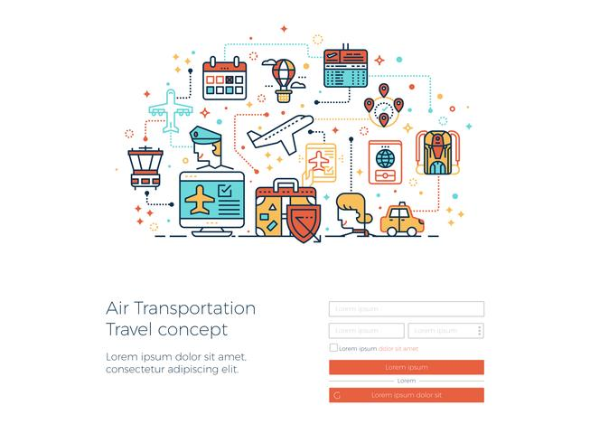 Air transportation travel concept