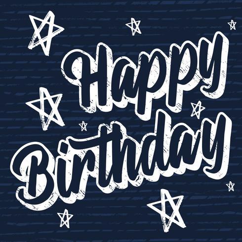 Grattis på födelsedagen Pensel Script Style Hand Lettering