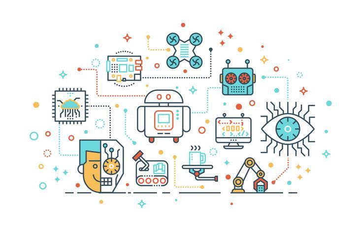 futuristic robot technology concept vector
