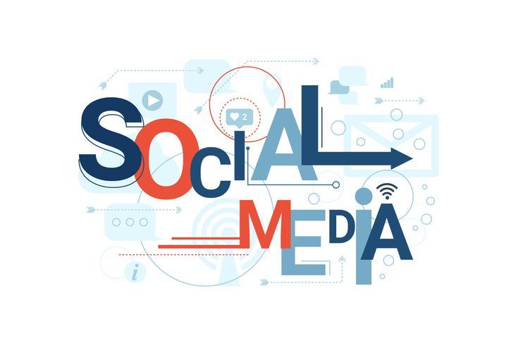 Social Media Word Typografi vektor