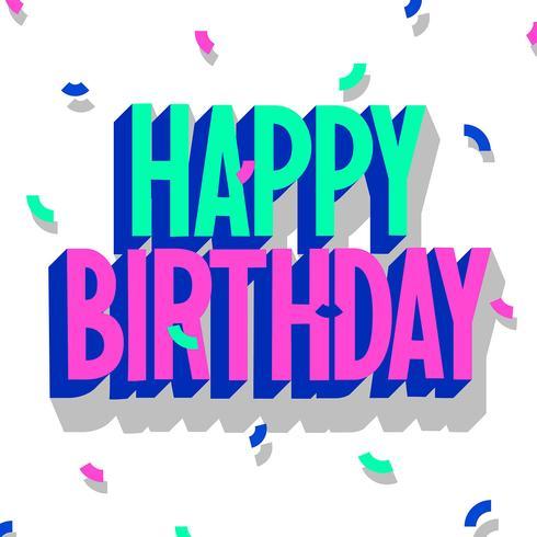 Effet 3d de joyeux anniversaire typographie.