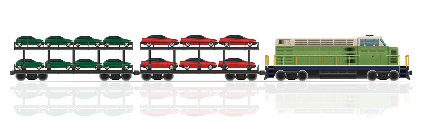 spoorwegtrein met locomotief en wagens vectorillustratie vector