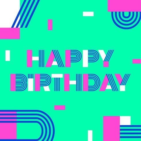 Grattis på födelsedagen Anpassad geometrisk typografi