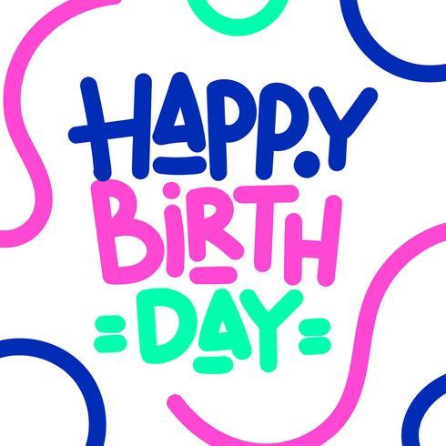 Grattis på födelsedagen Hand Lettering Custom Typography vektor