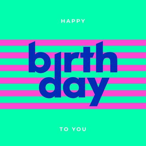 Gelukkige verjaardag eenvoudige typografie vector