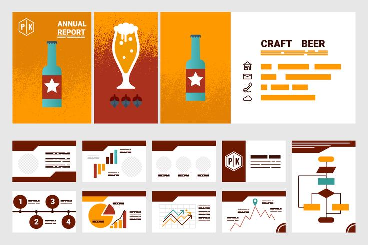 craft beer company annual report cover A4 sheet and presentation template vector