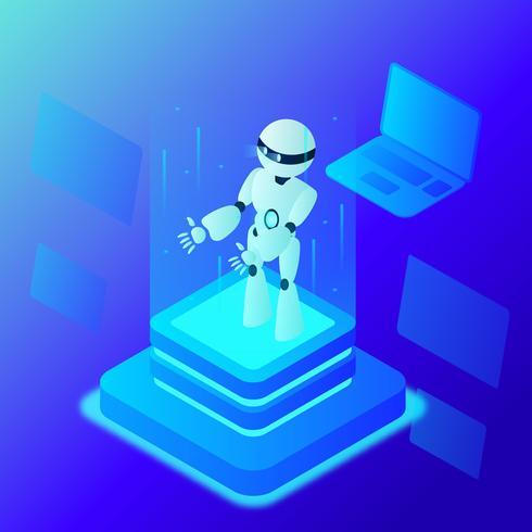 Vetor de conceito de inteligência artificial super humano