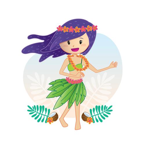 Aloha dancing girl vector
