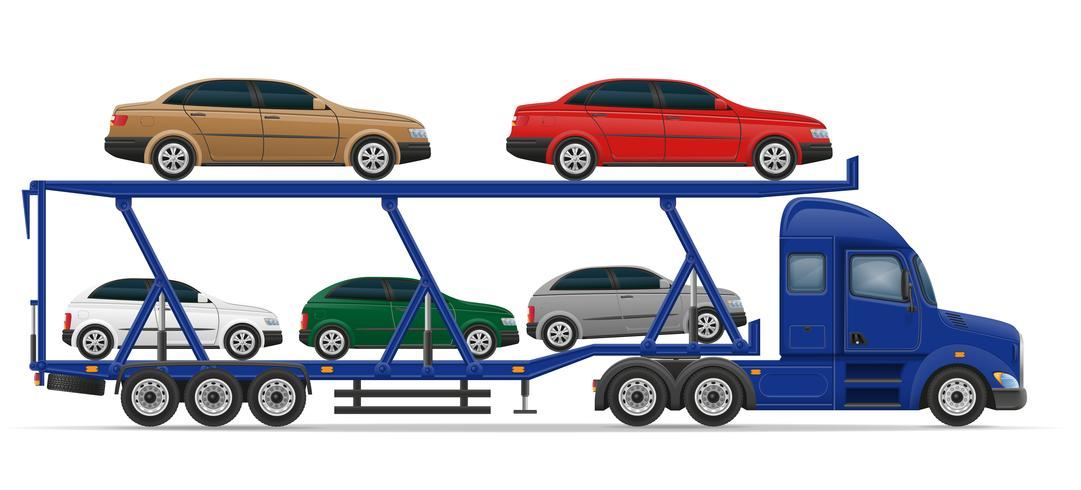 semi remolque de camión para el transporte de la ilustración de vector de concepto de coche