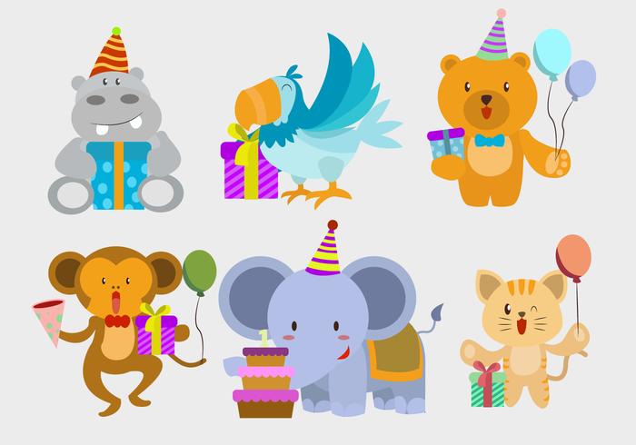 Happy Birthday Cute Animal Character Vector Illustration