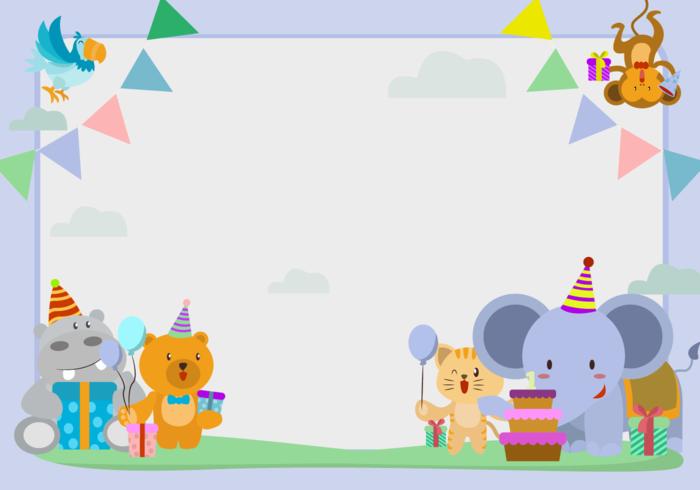 Gullig djurfödelsedagsram vektor illustration