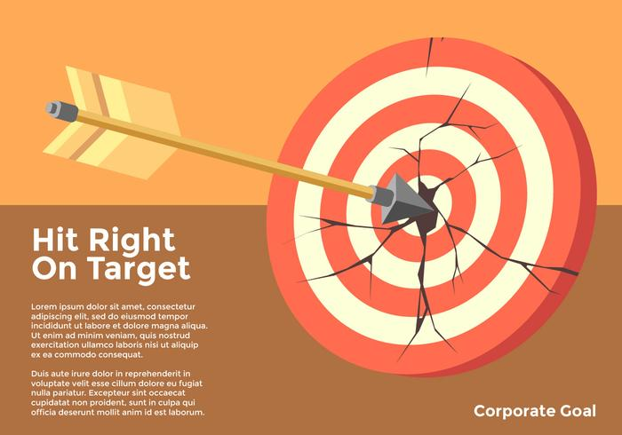 Treffen Sie nach rechts auf Zielunternehmensziel-Vektor