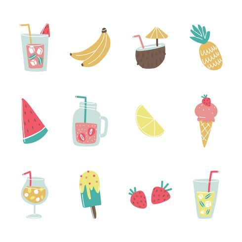 Kleurrijke zomer Foods pictogrammen vector