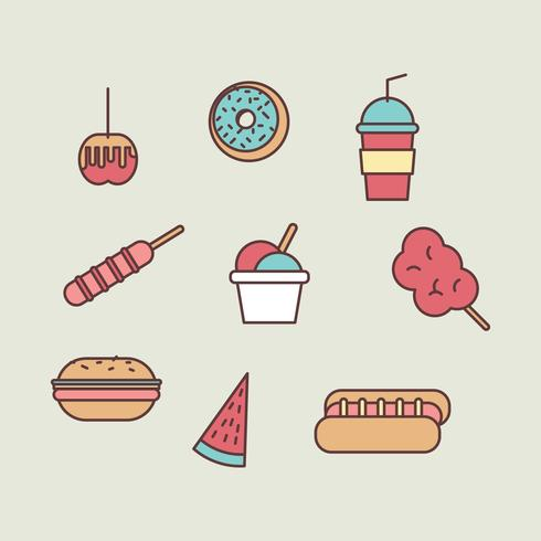 Outlined Summer Foods vector
