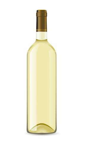 botella con vino blanco vector
