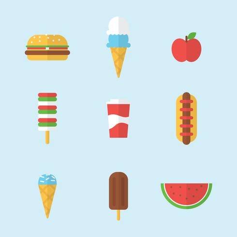 Platte zomer voedsel pictogrammen