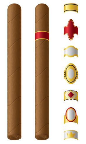 etichette di sigaro per loro illustrazione vettoriale
