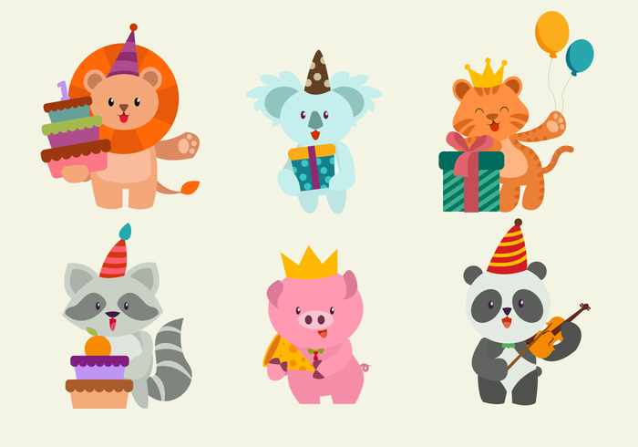 Gelukkige verjaardag Cute dieren karakter vectorillustratie